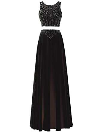 SOLOVEDRESS Womens Chiffon Beaded Long Evening Gown Two 2 Pieces Prom Dress Party Gown Bridesmaids (