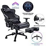 KILLABEE Big and Tall 350lb Massage Gaming Chair Metal Base - Adjustable Massage Lumbar Cushion, Retractable Footrest High Back Ergonomic Leather Racing Computer Desk Executive Office Chair