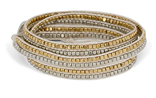 SPUNKYsoul New! Handmade Boho 3 Wrap Bracelet Gold and Silver and Creme for Women Collection