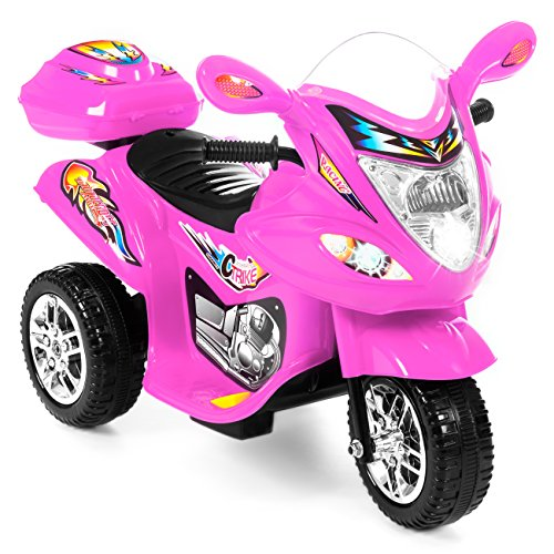 Best Choice Products 6V Kids Battery Powered 3-Wheel Motorcycle Ride-On Toy w/ LED Lights, Music, Horn, Storage - Pink (Harley Davidson V Rod Remote Control Motorcycle)