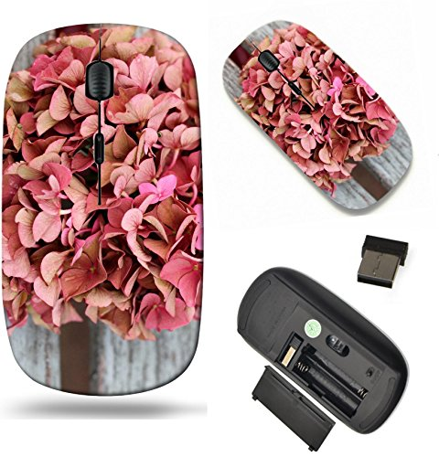 (MSD Wireless Mouse Travel 2.4G Wireless Mice with USB Receiver, Noiseless and Silent Click with 1000 DPI for notebook, pc, laptop, computer, mac book design 22612973 Faded autumn pink hydrangea)