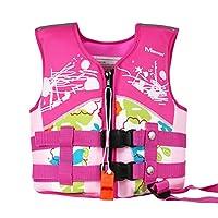 WYTbaby Kids Swim Vest Neoprene Float Swimming Jacket Girls Swimwear Pink, 7-10 Years