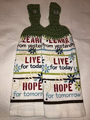 Free ship to USA - set of 2 CROCHET KITCHEN hand TOWEL LIGHT weight terry cloth - Learn, Live, Hope - Tea Leaf Green 100% acrylic yarn crochet top