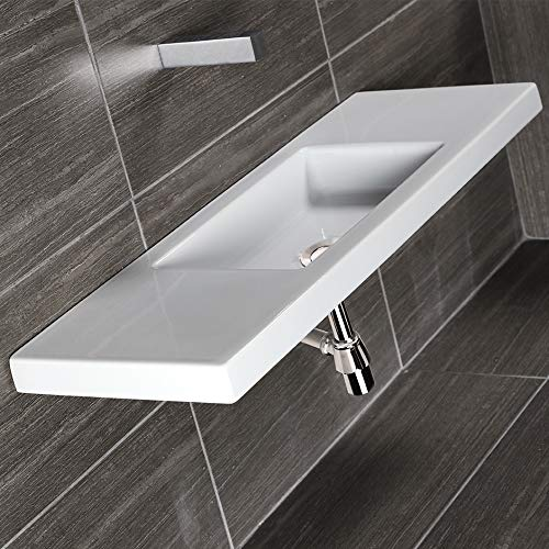 Wall-mount, vanity top or self-rimming porcelain Bathroom Sink with an overflow. One faucet hole on either left side or right side. W: 39 1/2
