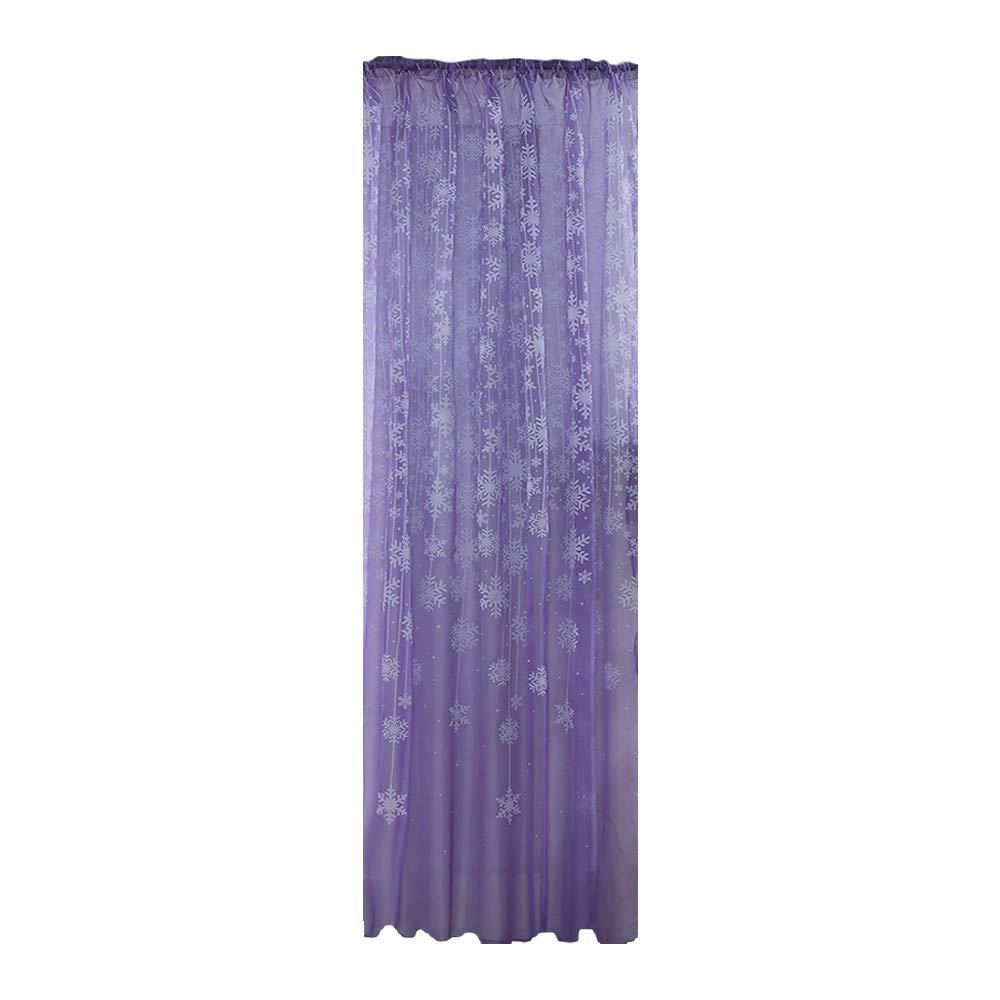 MomeNewest Christmas Snowflake Curtain Tulle Window Treatment Voile Drape Valance  (Purple)
