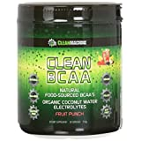 Clean Machine BCAA Flavored Fruit Punch Powder Supplement – Natural Food Sourced Coconut Water Electrolytes – 30 Servings