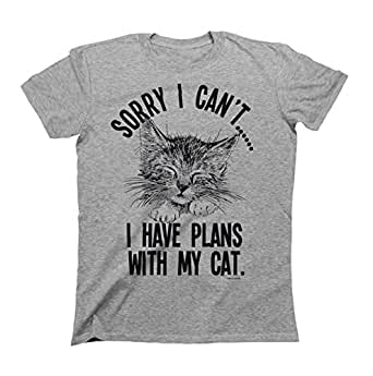 Sorry I cant..I Have Plans With My Cat Mens & Ladies Unisex Fit Slogan T-Shirt Small