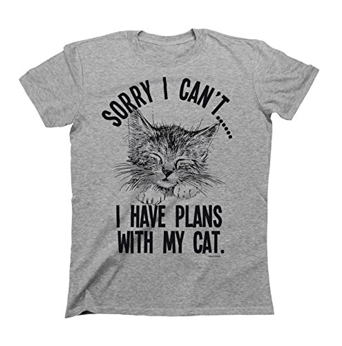 (Sorry I Cant.I Have Plans with My Cat Mens & Ladies Unisex Fit Slogan T-Shirt Large Grey)