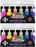 2 Pk, Bazic 20 Ml Neon Color Glitter Glue, 6 Per Pack (Total of 12) Pink, Green, Blue, Yellow, Purple, and Orange