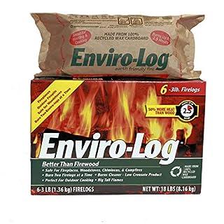Enviro-Log Earth Friendly Fire Log, Burns Cleaner Than Wood. (1 Box - 3 lb Pack of 6) (2 Count)