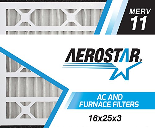 Air Bear Replacement - Aerostar 16x25x3 MERV 11 Air Bear Replacement Pleated Air Filter, Made in the USA 15 3/4
