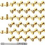 60 Pairs 3 Sizes Chicago Screws Rivets Brass