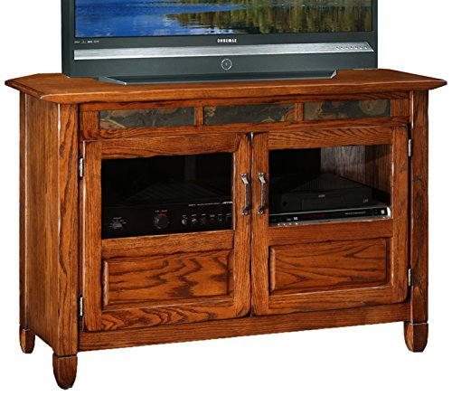 Solid Wood Corner Tv Stand - Leick 89046 Riley Holliday Rustic Oak 46-Inches TV Console