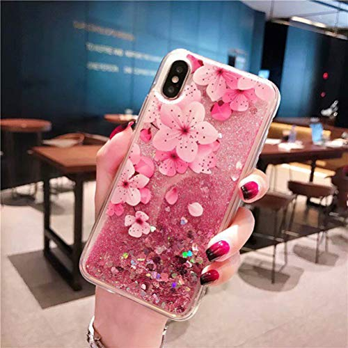 iPhone XR Case, Ebetterr Flower Glitter Sparkle Bling Liquid Case for Girls Women, Creative Flowing Liquid Floating Soft TPU Bumper Hard Clear Case Phone Cover for iPhone XR 6.1 inch 2018 Release