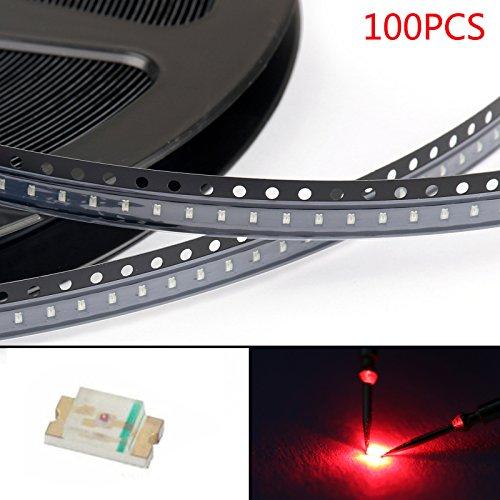 Areyourshop 100Pcs 0603 (1608) Red Light SMD SMT LED Lamp Diodes Emitting Super Bright New
