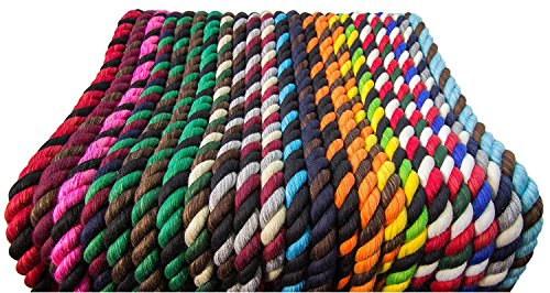 FMS Tri-Color Natural Twisted Cotton Rope Ravenox | (Black, Black & Royal Blue)(1/2-inch x 10-Feet)| Made in The USA | 3-Strand Rope by The Foot for Macramé, Décor & Design, Sports, Pet Toys, Craft by FMS (Image #5)