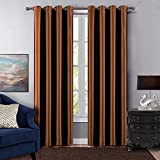 Dreaming Casa Grommet Top Solid Room Darkening Blackout Curtain for Bedroom Metal Textured Window Treatment 63 Inches Long Draperies Chocolate 1 Panel 42'' W x 63'' L