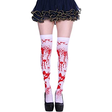 Youandmes Halloween Blood Socks Ghost Festival Party Bloody Stockings Tights