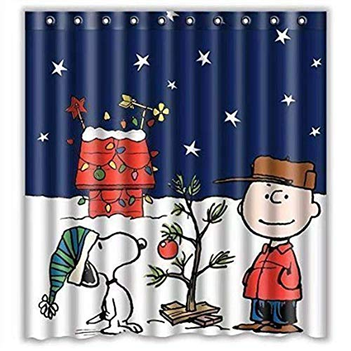 Pxh Christmas Shower Curtain, 66x72inch/ 165cmX180cm Peanuts Xmas Shower Curtain, Bathroom Shower Curtain Waterproof Christmas Decorations with 12 Hooks