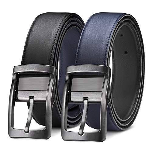 Belt for Men, Bestkee Men's Leather Belt Reversible and Adjustable, Genuine Leather Mens Dress Belt with Rotated Buckle (Black and Blue, Size33″(Waist30-32″))