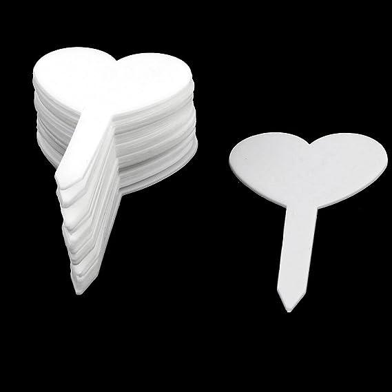 Amazon.com: DealMux Plástico Doméstico Jardim Coração planta em forma Tag Semente Etiqueta marcador da vara 100pcs Branco: Kitchen & Dining