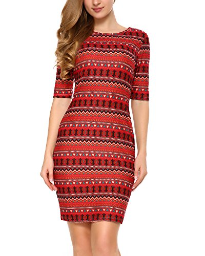 Mixfeer Women's Geometric Print U Back Midi Bodycon Dress With Half Sleeve