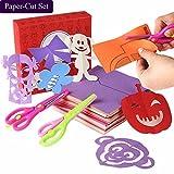 Qiao Niuniu Fun Paper-Cut Set; Paper Cutting; Paper Art; Scissor Activity Cutting Book; Kids Scissors crafts kits Preschool-120 Pages with A Pair of Child-Safe Scissors