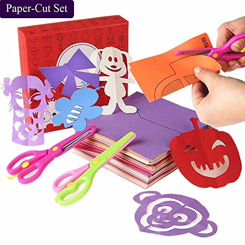 qiaoniuniu Fun Paper-Cut Set; Paper Cutting; Paper Art; Scissor Skills Activity Cutting Book; Kids Scissors Crafts Kits Preschool-120 Pages with A Pair of Child-Safe Scissors