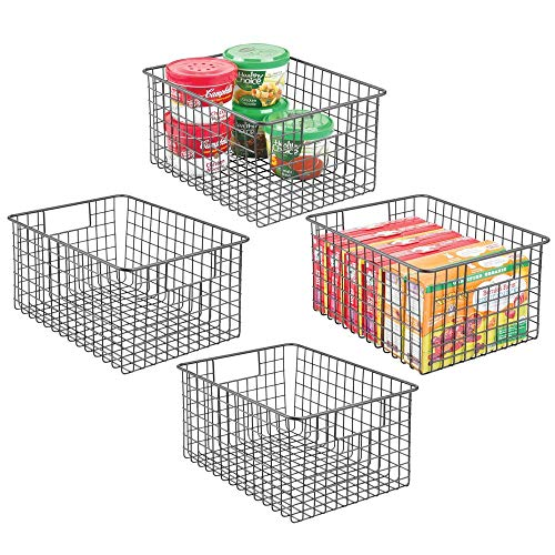 (mDesign Farmhouse Decor Metal Wire Food Storage Organizer Bin Basket with Handles - for Kitchen Cabinets, Pantry, Bathroom, Laundry Room, Closets, Garage - 12