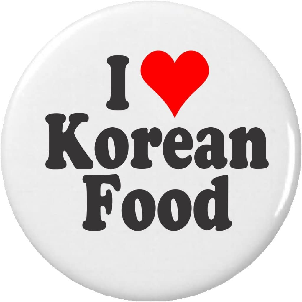 I Love Korean Food Pinback Button Pin Heart