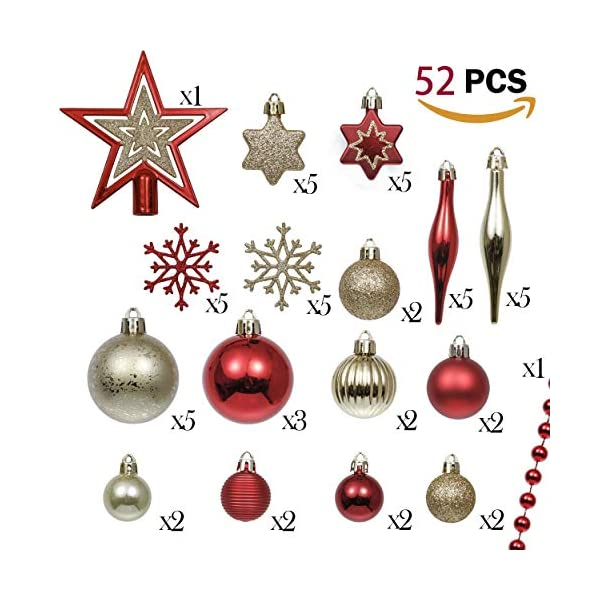 Valery Madelyn Palle di Natale 52 Pezzi di Palline di Natale, 3-5 cm Rosso e Oro Infrangibile Ornamenti di Palla di Natale Decorazione per la Decorazione Dell'Albero di Natale 2 spesavip
