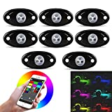 Wayrank LED Rock Light Kits with 8 Pods Lights for Car Jeep Off Road Truck ATV SUV Boat Underbody Glow Trail Rig Lamp Waterproof RGB