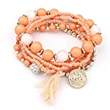 Dressin Multilayer Beads Bracelets Fashion Fringed Multilayer Pearl Bracelet Jewelry Best Gift for Women Girls