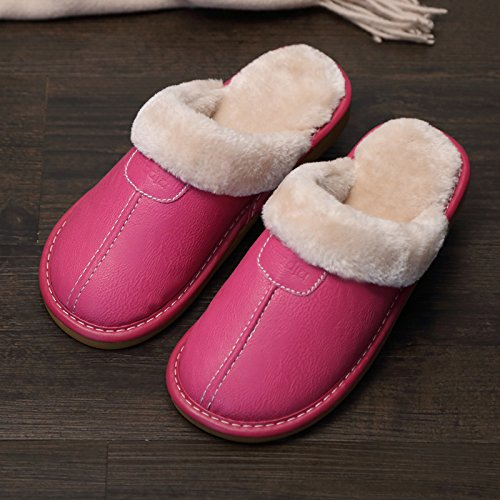 Fankou Indoor pantofole di cotone femmina pacchetto invernale con grazioso personaggio dei fumetti post-pantofole e trascinare il cotone rosso ,34-35,