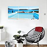 Liguo88 Custom canvas House Decor Collection Swimming Pool Hotel With A View Island Crete Greece terrace turquoise sea Bedroom Living Room Wall Hanging