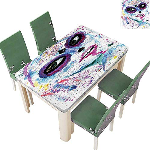 Printsonne Polyester Tablecloth Halloween Lady with Sugar Skull Make Up Creepy Dead Face Gothic Woman Spillproof Tablecloth 50 x 72 Inch (Elastic Edge)