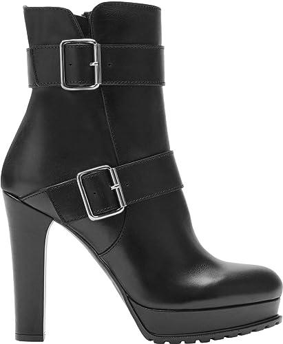 low priced aedf2 a6485 Poi Lei Damen-Schuhe High Heel Stiefelette Noemi Schwarz Stiefeletten  Blockabsatz Leder