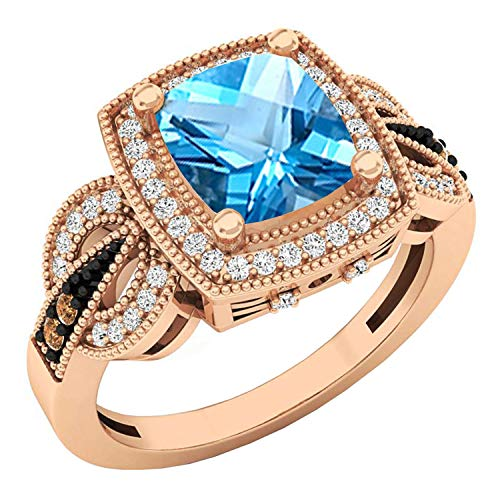 Dazzlingrock Collection 14K 8X7 MM Cushion Blue Topaz, Round Champagne & White Diamond Ladies Ring, Rose Gold, Size 7 (Champagne Is Blue What)