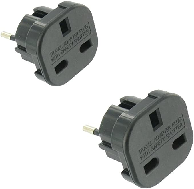 2 X Travel Adaptor Plug Uk To German Computers Accessories
