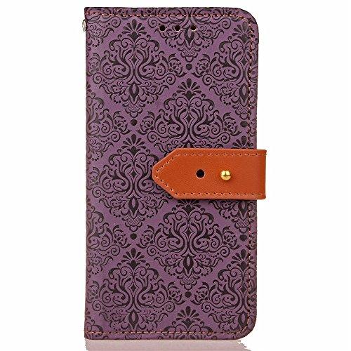 JIALUN-carcasa de telefono Para Apple iPhone 7 Funda de la caja Estilo europeo Mural en relieve Presionando Patrón de la flor Funda de cuero de la PU Funda con Soporte y Marco de fotos y ranuras para  Purple