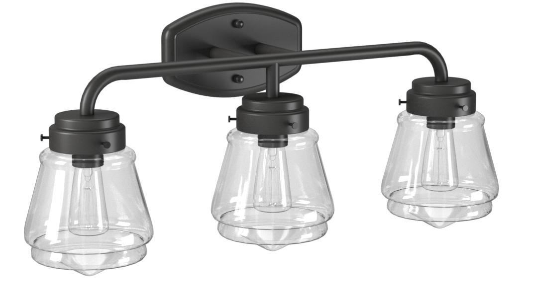 Stone & Beam Vintage 3-Light Vanity Fixture, 11.5''H, With Bulb, Matte Black with Glass Shade by Stone & Beam (Image #7)