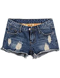 Women's Denim Shorts Cuffed Short Jeans Pants