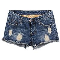 Blostirno Women's Denim Shorts Cuffed Short Jeans Pants
