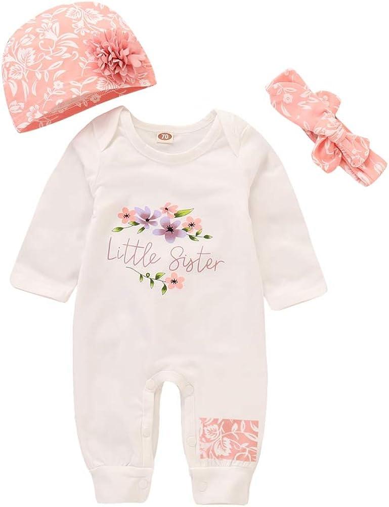 Miyanuby Kleidung Sets f/ür Baby M/ädchen Jungen Stirnband Outfits Neugeborenes Baby Set Langarm Strampler Einteilige Bodys Blumen Hut