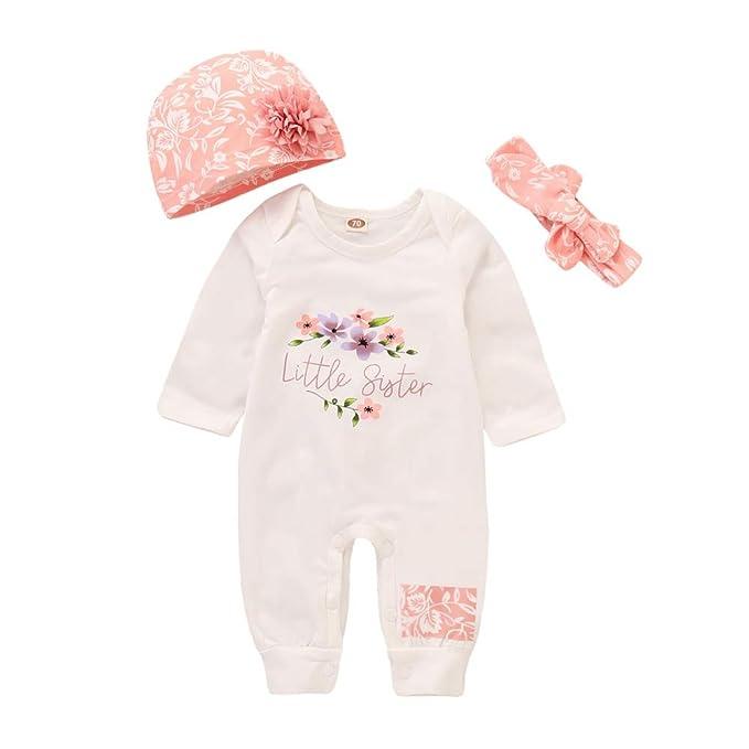 d72e9967241f4 Miyanuby Set di Vestiti per Ragazze Neonata Manica Lunga Rosa Pagliaccetto  Body + Hat + Fascia