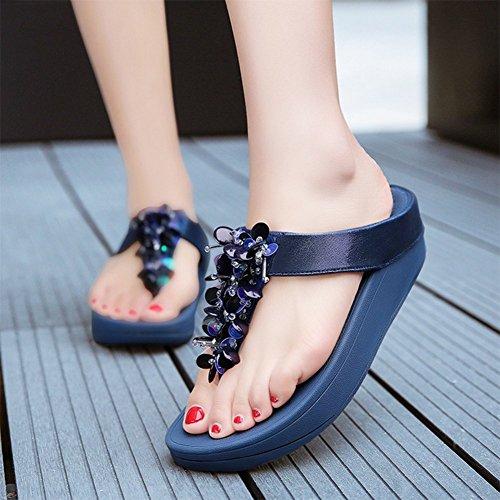 Infradito Da Con 39 A Paillettes Sandali Blue Scarpe Donna Paillettes Blue Farfalla Con Traspiranti Estive Da Spiaggia Con Ciabatte Comode r1w1E4