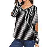 NUWFOR Womens Black and White Striped T Shirts Long Sleeve Elbow Patch Crew Neck Casual Tunic Tops For Winter/Fall