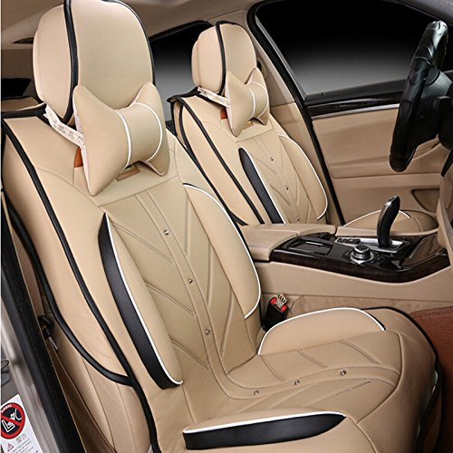 Amooca Compatible Universal Full Front Rear Ice Silk PU Fabric Car Seats Cushion Cover Fit for All Most Five Seat Car Beige 8pcs