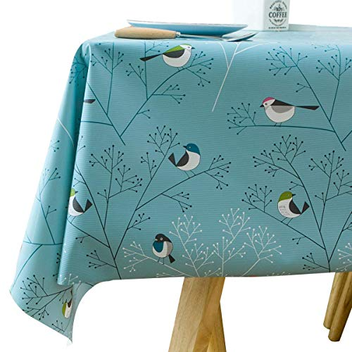 Vinyl Oilcloth Tablecloth Rectangle Wipeable Oil-Proof Waterproof PVC Heavy Duty Long Tablecloth Turquoise Bird 54 x 108 Inch ()
