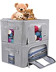 WONLIFE Collapsible Storage Bins Boxes,Closet Storage Organizer,Foldable Fabric Storage Box,Clothes Organizer/Clear Window,Carry Handle,Sturdy Zip,Metal Frame, Storage Solution(2-Pack)